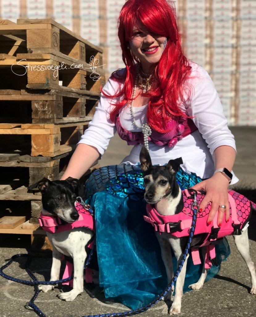 Girls Meerjungfrau Kostüm Hunde