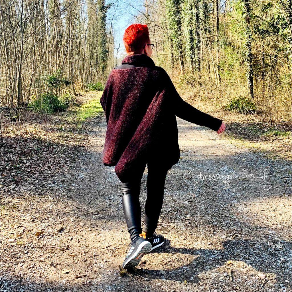 Pullover selbst gestrickt, Rücken